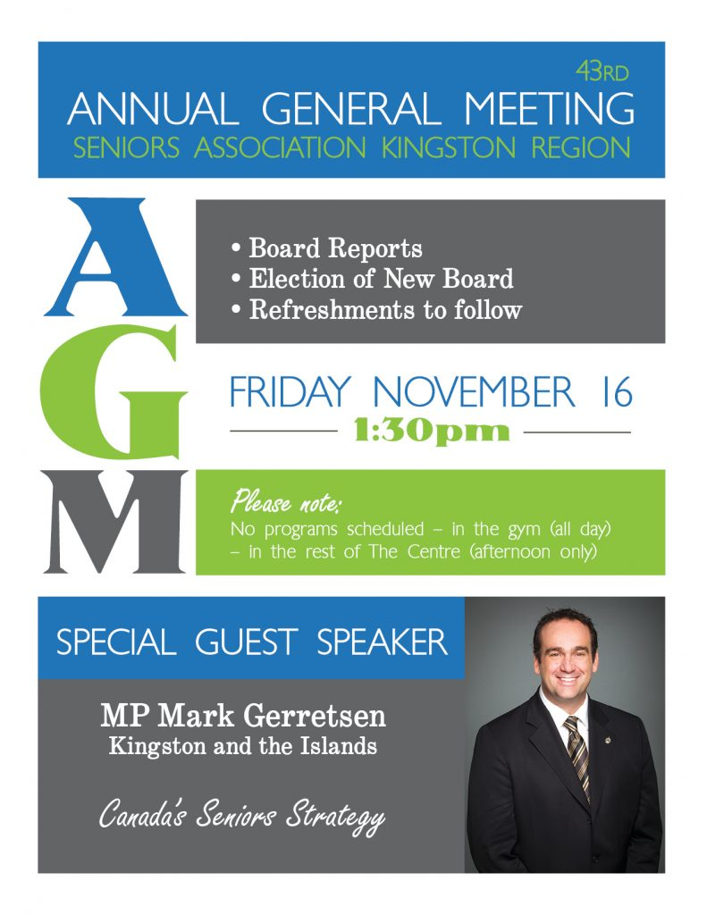 43rd Annual General Meeting Seniors Association Kingston Region